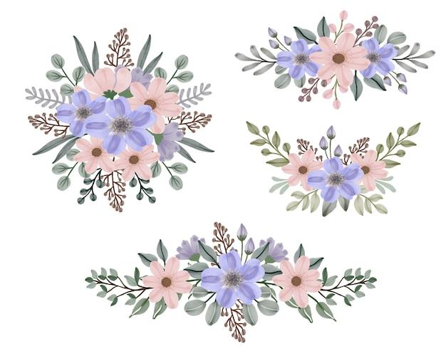 Ensemble de bouquets de cadre floral aquarelle