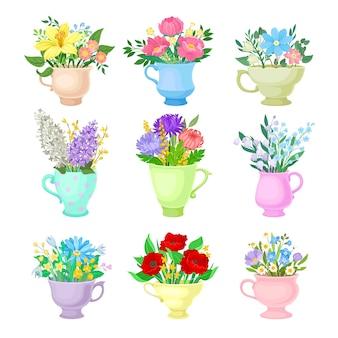Ensemble de bouquets en cercles monophoniques en céramique