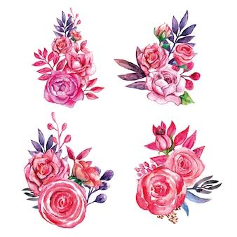 Ensemble de bouquets de feuilles roses et violettes fleur rose
