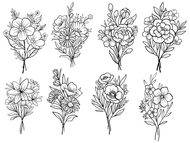 Ensemble de bouquets de fleurs. ekibana floral. illustration sur un fond blanc.