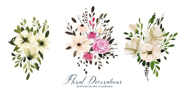Ensemble de bouquets de fleurs florales aquarelle