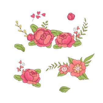 Ensemble de bouquets de fleurs