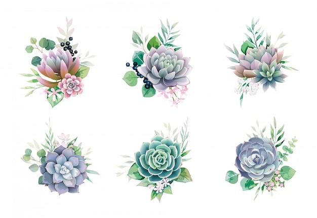 Ensemble de bouquets succulents et de verdure pour invitation de mariage ou carte de voeux.