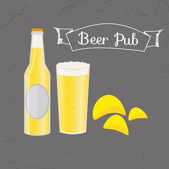 Ensemble de bouteille de bière, tasse et collation de style plat. bière légère avec des chips croustillantes. illustration vectorielle pour bannières, affiches, menu de restaurant et de pub.