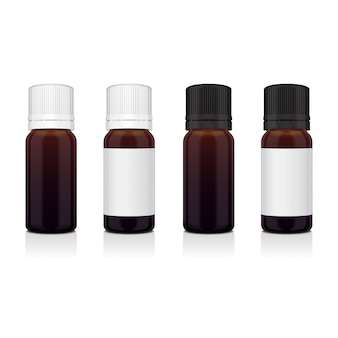 Ensemble de bouteille brune réaliste d'huile essentielle. flacon cosmétique ou médical de bouteille, flacon, illustration de flacon