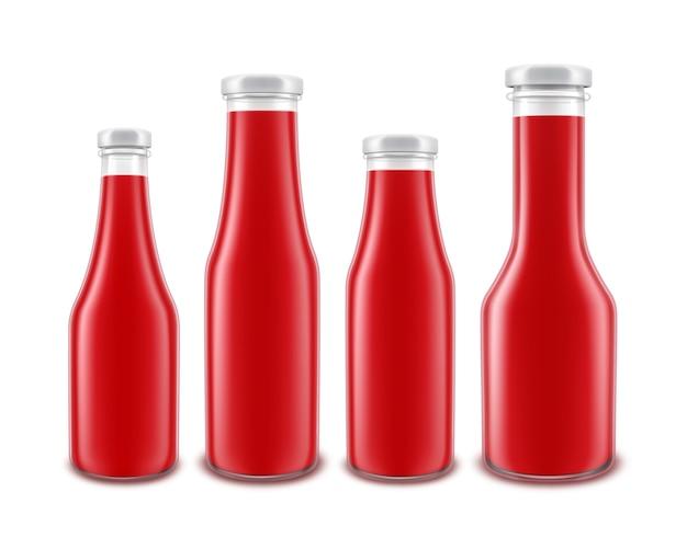 Ensemble de bouteille de ketchup aux tomates rouges en verre blanc de différentes formes pour la marque sans étiquette isolé sur fond blanc