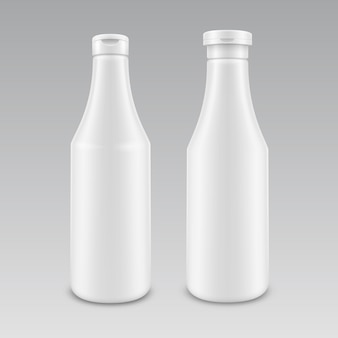 Ensemble de bouteille de ketchup mayonnaise blanche en plastique blanc pour la marque sans étiquette sur fond