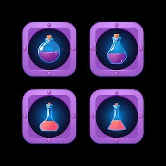 Ensemble de bouteille de potion en bordure de cadre fantastique pour les éléments de l'interface utilisateur de jeu