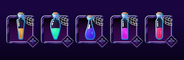 Ensemble de bouteille de potion dans le panneau de cadre avec le thème de l'halloween. parfait pour les éléments d'actif de l'interface graphique