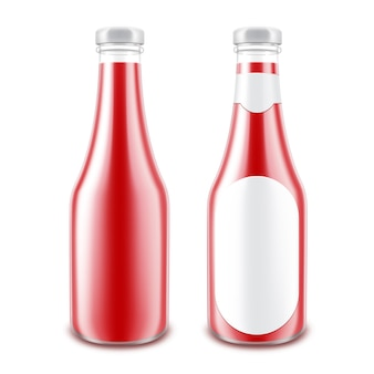Ensemble de bouteille de tomate rouge sans étiquette ronde