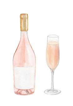 Ensemble de bouteille et verre de vin rose aquarelle isolé