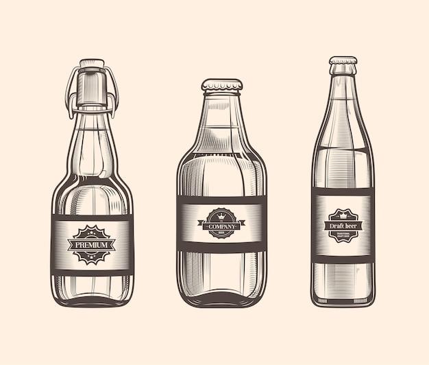 Ensemble de bouteilles de bière dans un style vintage