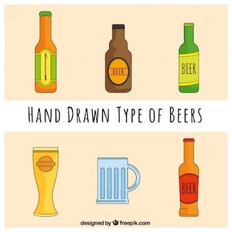 Un ensemble de bouteilles de bière et des verres