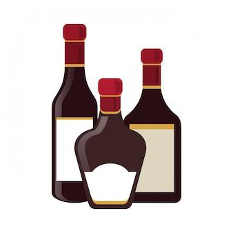 Ensemble de bouteilles de boissons alcoolisées