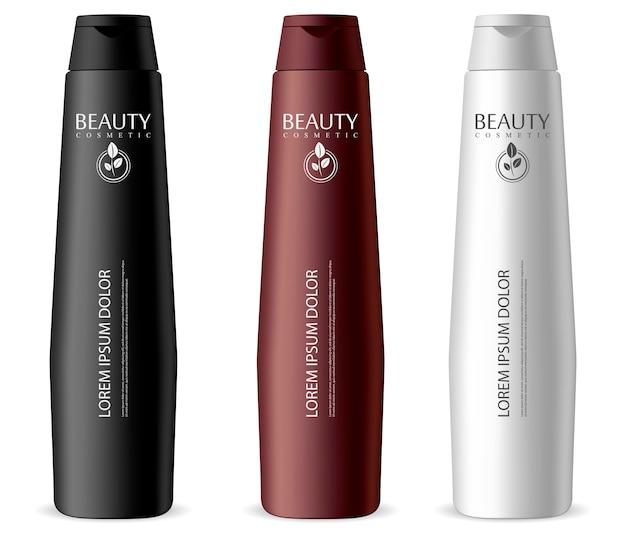 Ensemble de bouteilles cosmétiques étroites. différentes couleurs: pots noirs, blancs pour shampoing, crème hydratante, masque capillaire, lotion.
