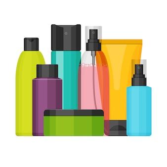 Ensemble de bouteilles cosmétiques vecteur coloré