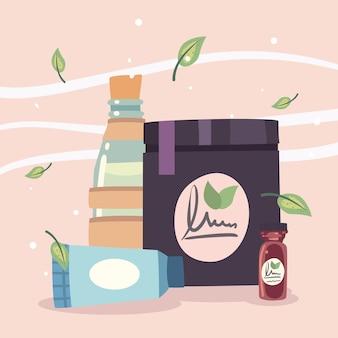 Ensemble de bouteilles de crème de centre de spa avec des feuilles