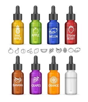 Ensemble de bouteilles e-liquide colorées avec icon fruit. illustration vectorielle