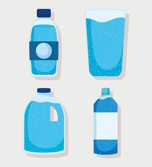 Ensemble de bouteilles d'eau et de verres