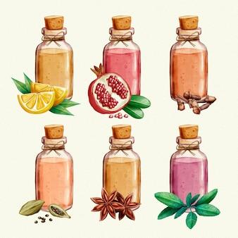 Ensemble de bouteilles d'huile essentielle aquarelle