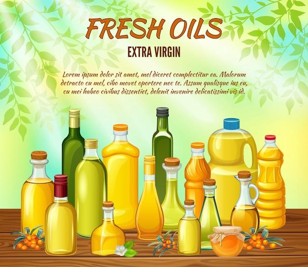 Ensemble de bouteilles avec des huiles végétales pour la cuisine