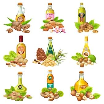 Ensemble de bouteilles avec des huiles végétales.