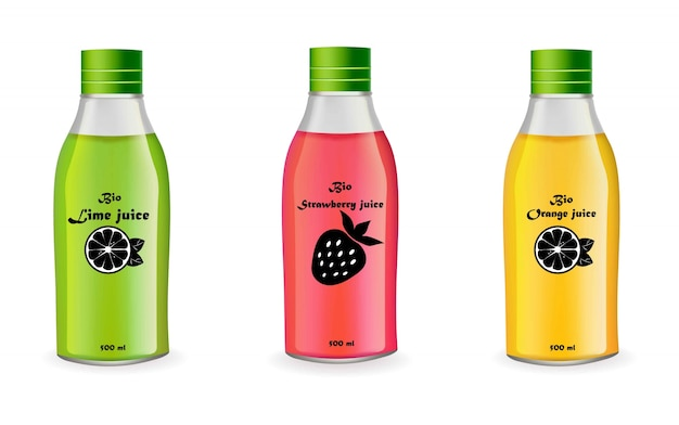 Ensemble de bouteilles de jus de vecteur réaliste isolé sur blanc. emballage de produit design étiquette fruit