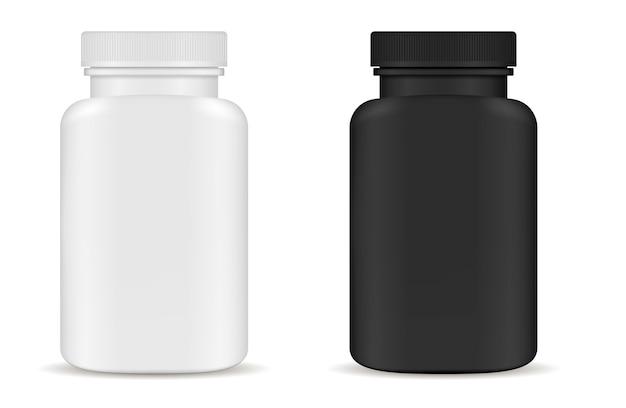 Ensemble de bouteilles de médicaments médicaux. vecteur 3d blanc noir
