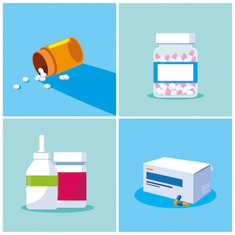 Ensemble de bouteilles de médicaments probiotiques