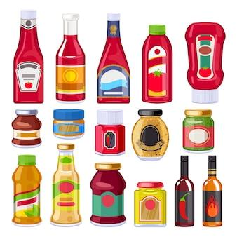 Ensemble de bouteilles de sauces et vinaigrettes.