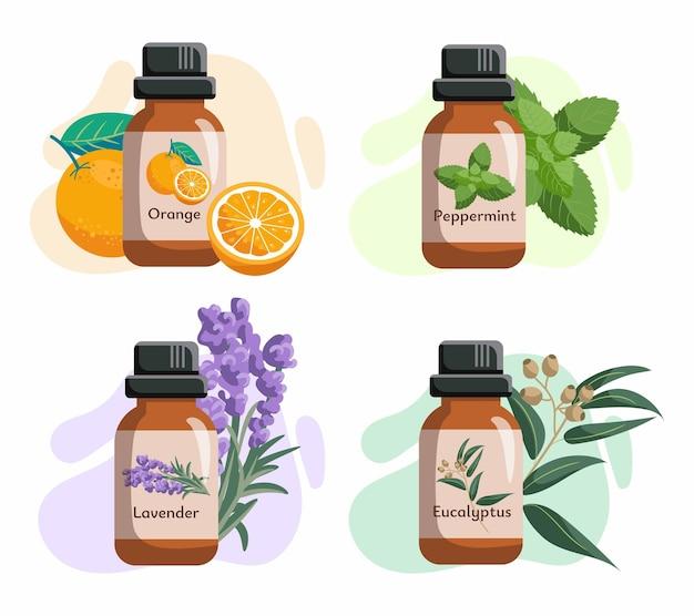 Ensemble de bouteilles en verre aux huiles essentielles. huiles d'orange, d'eucalyptycus, de menthe poivrée, d'arbre à thé.