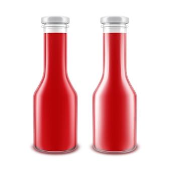 Ensemble de bouteilles en verre vierges isolé sur blanc