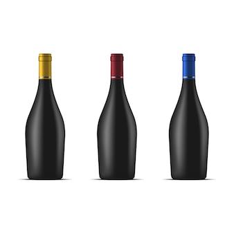 Ensemble de bouteilles de vin isolated on white