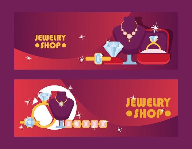 Ensemble de boutique de bijoux d'illustration de bannières. accessoires diamant.