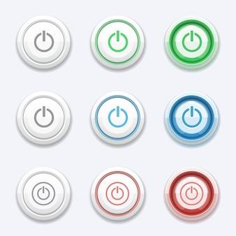 Ensemble de bouton de démarrage ou d'alimentation de vecteur. interrupteur d'arrêt rond, cercle allumé, élément d'ordinateur de poussée, commande électronique