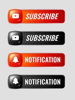 Ensemble de boutons d'abonnement et de notification 3d