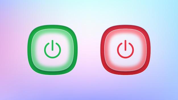 Ensemble de boutons d'alimentation transparents