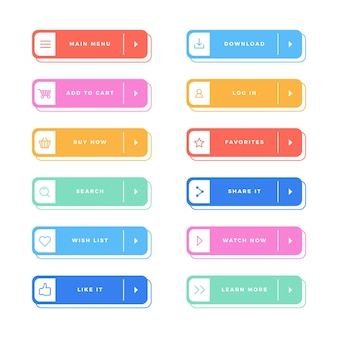 Ensemble de boutons d'appel à l'action design plat