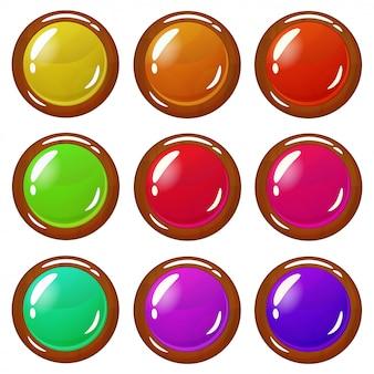 Ensemble de boutons brillants plaqués bois brillants