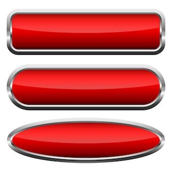 Ensemble de boutons brillants rouges. illustration vectorielle.