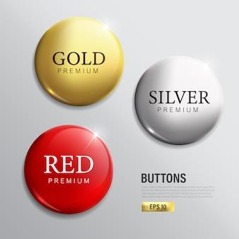 Ensemble de boutons cercle couleur moderne or argent et rouge