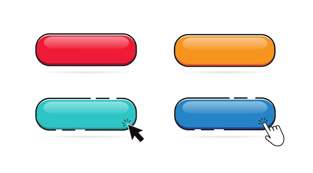 Ensemble de boutons colorés cliquez sur le bouton