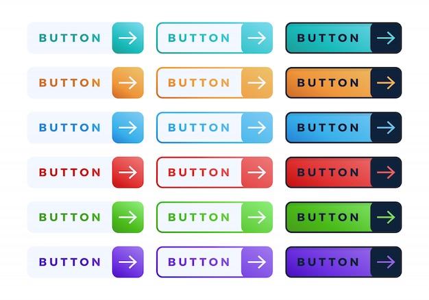 Ensemble de boutons colorés. collection de boutons de diapositive dégradé à trois lignes plates avec texte et flèche.