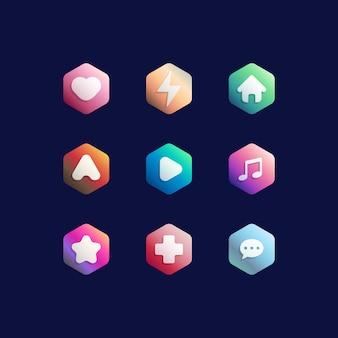Ensemble de boutons colorés