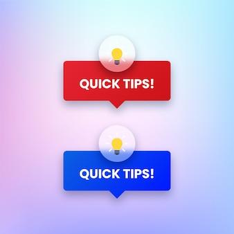 Ensemble de boutons de conseils rapides