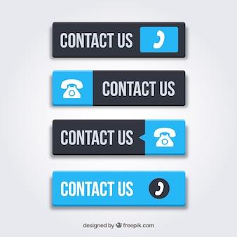 Ensemble de boutons de contact bleu