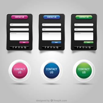 Ensemble de boutons de contact modernes pour le web