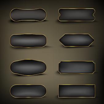 Ensemble de boutons de couleur or et forme noire