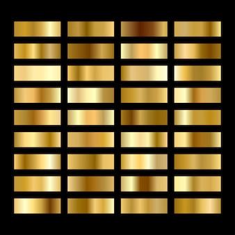 Ensemble de boutons dégradés ronds en or.