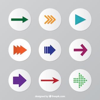 Ensemble de boutons fléchés rondes